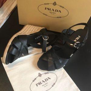 PRADA Woven Leather Platform Espadrilles